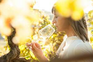 Female Winemaker with Glass of White Wine in Vineyard