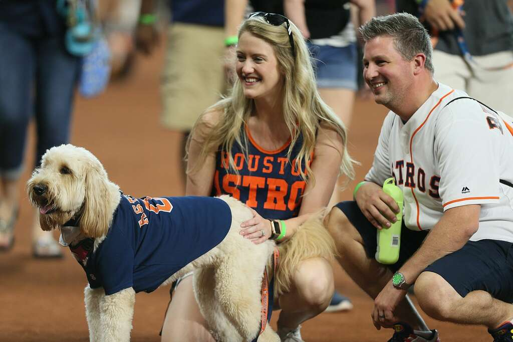 Happy pet parents at Houston Astros' annual Dog Day of Summer event at Minute Maid Park.