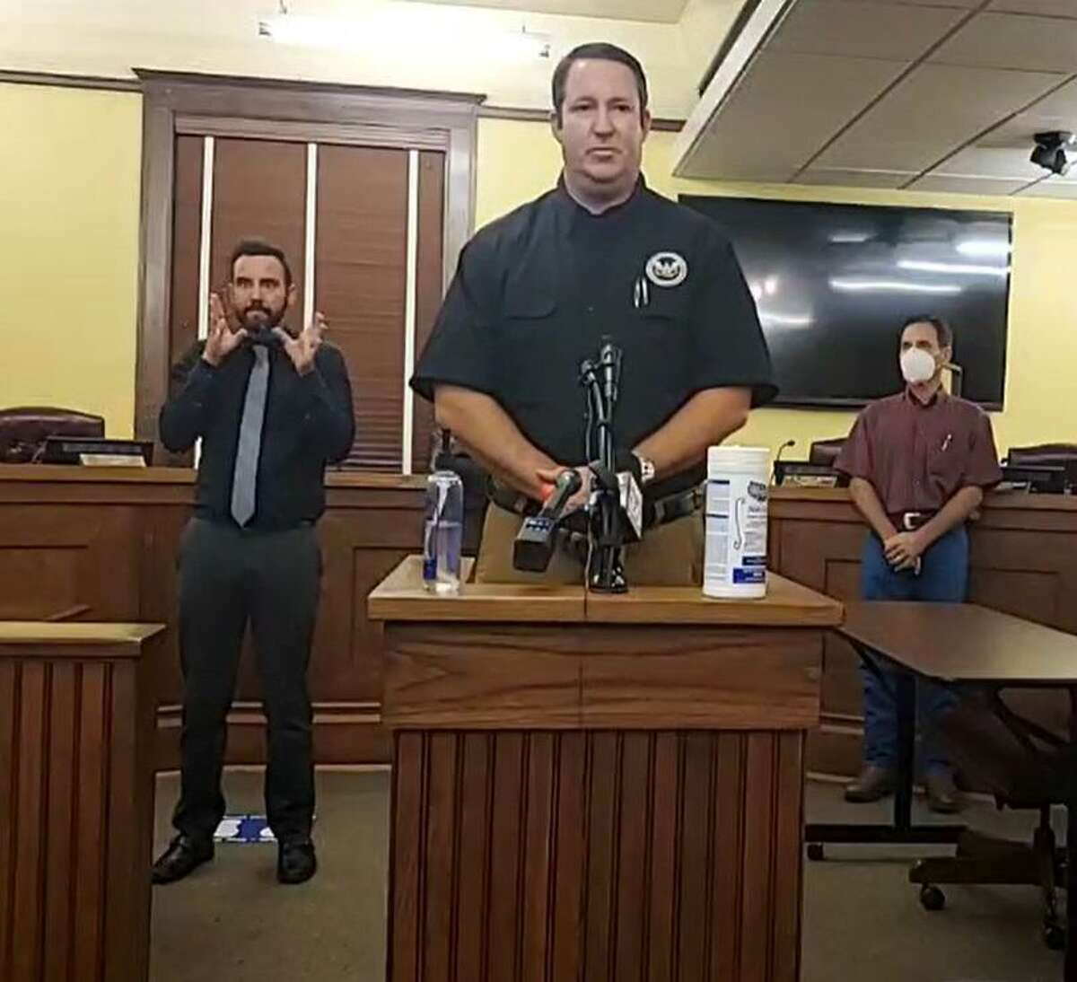 Fort Bend County Office of Emergency Management Coordinator Mark Flathouse answers questions during a news conference Monday, Sept. 21, 2020. Flathouse was joined by Fort Bend County Judge KP George and Drainage District Chief Engineer Mark Vogler to discussTropical Storm Beta.