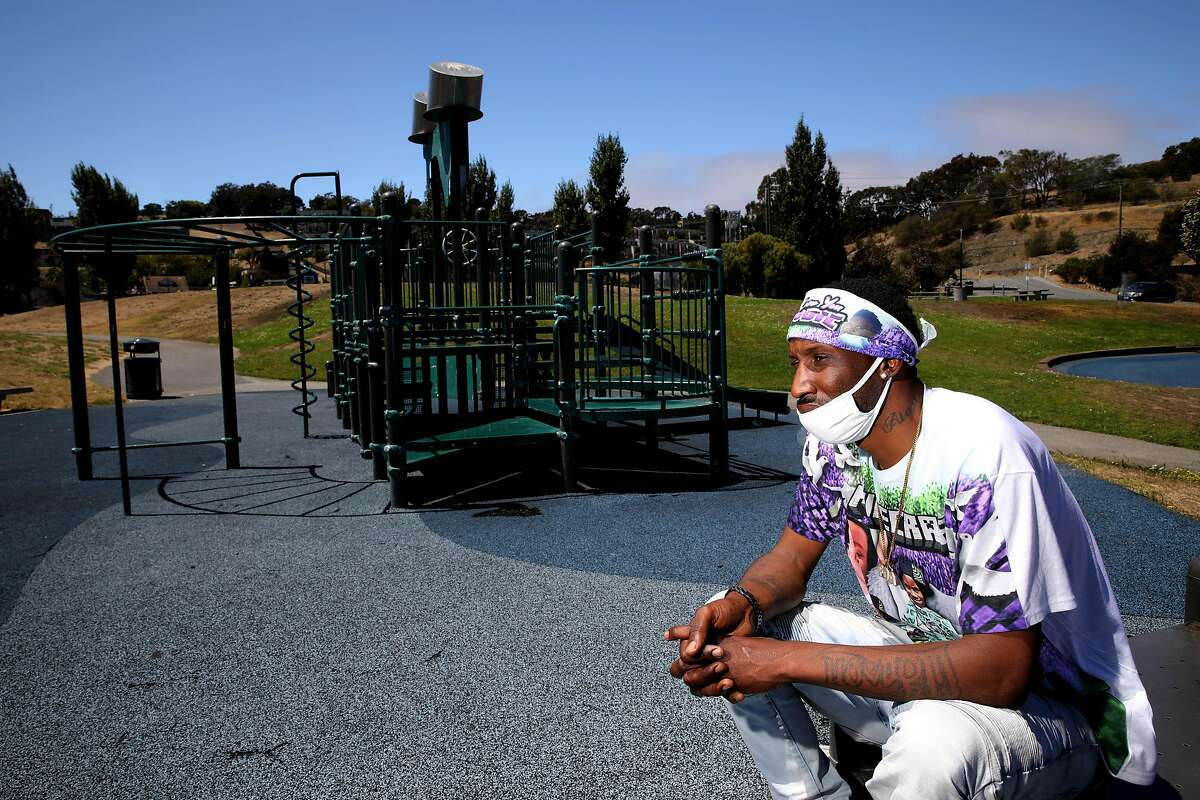 Jason Young, 41, poses for a portrait at India Basin Park on Wednesday, July 29, 2020, in San Francisco, Calif. Young is the father of Jace Young, a 6-year-old boy who was fatally shot while watching fireworks on 4th of July. India Basin Park was one of Jace's favorite places to play.