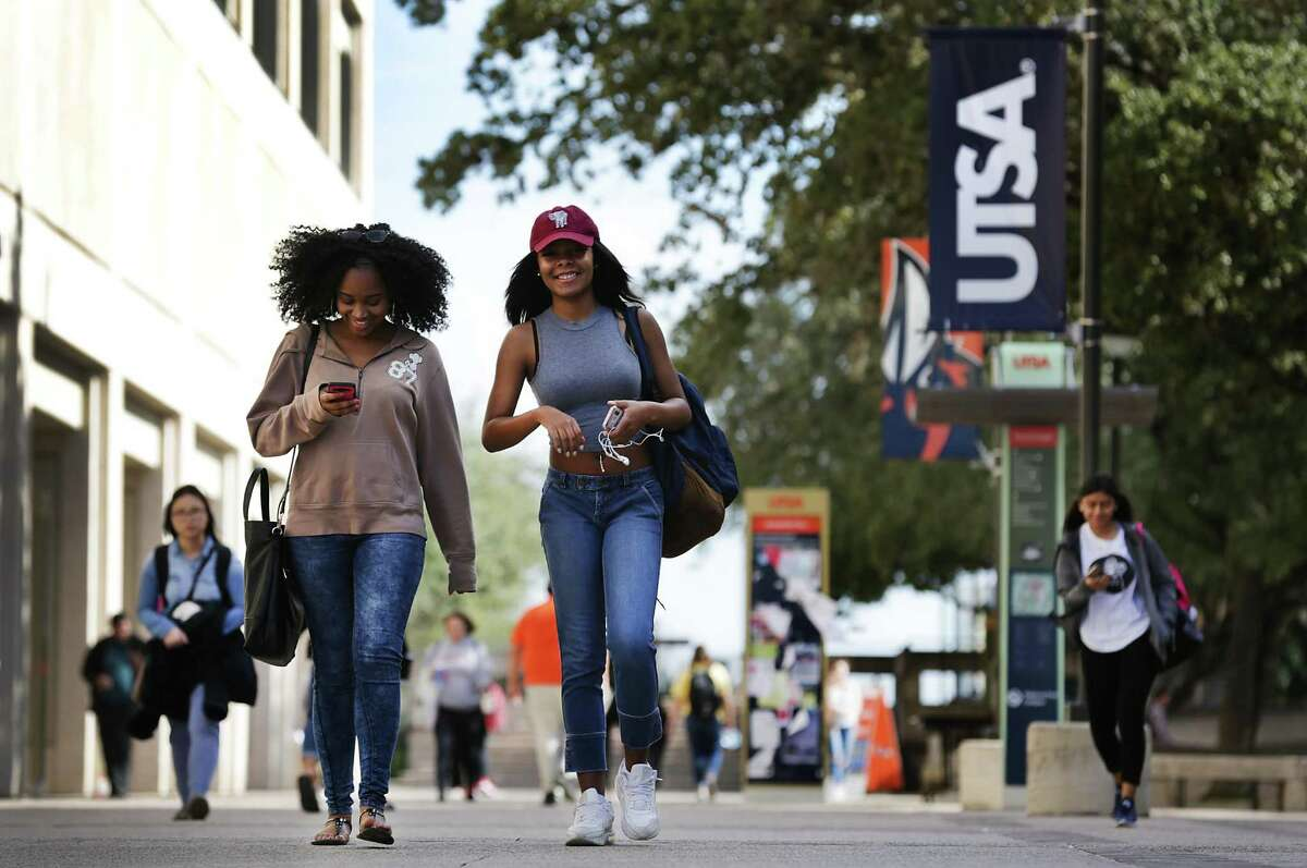 Students are shown on their way to classes at the main UTSA campus. UTSA is launching an on-campus career center dedicated to providing students with opportunities to get hands-on workforce experience with local businesses before they graduate.