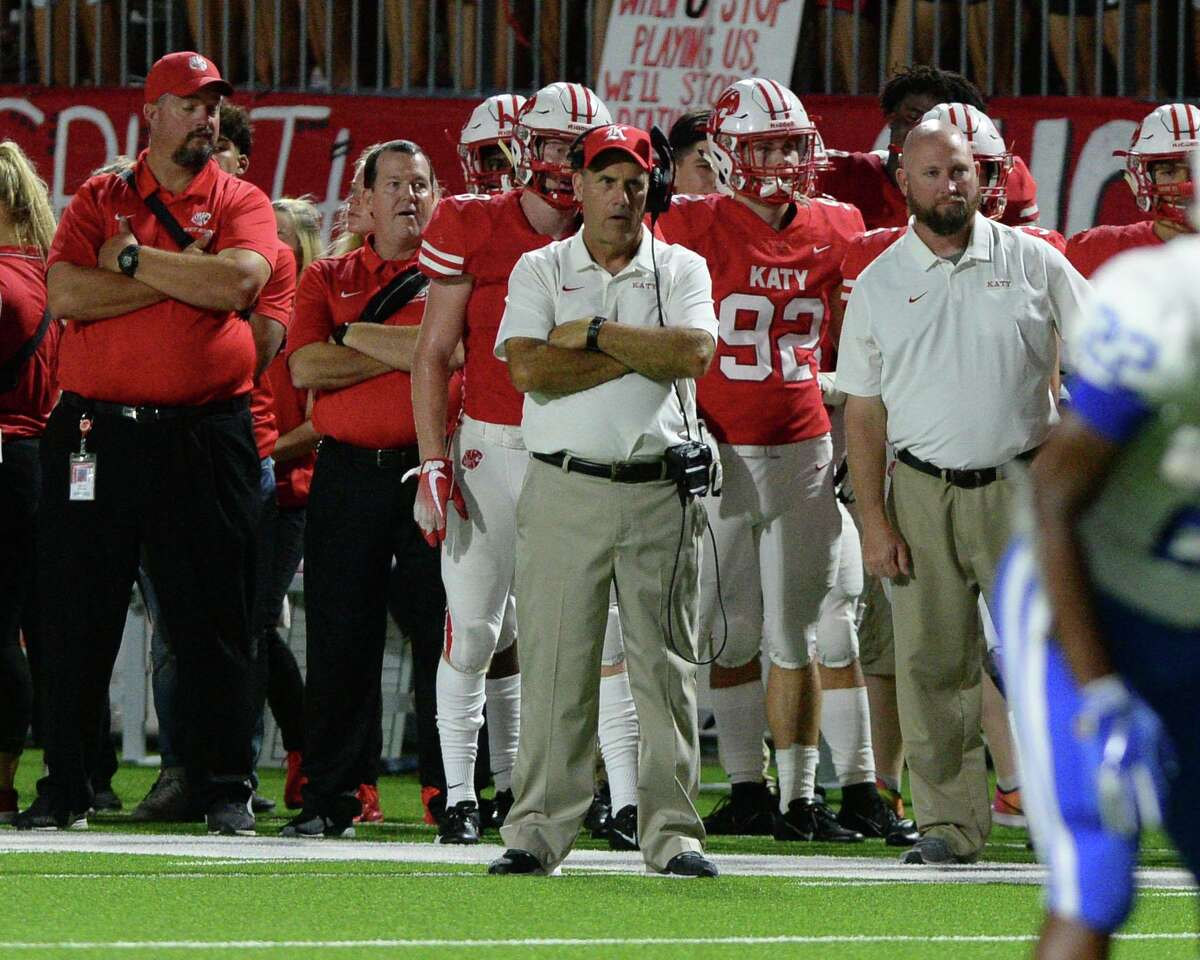 Katy Coach Gary Joseph (center) watches from the sidelines during the third quarter of a non-district football game between the Katy Tigers and the Clear Springs Chargers on Saturday, September 21, 2019 at Legacy Stadium, Katy, TX.