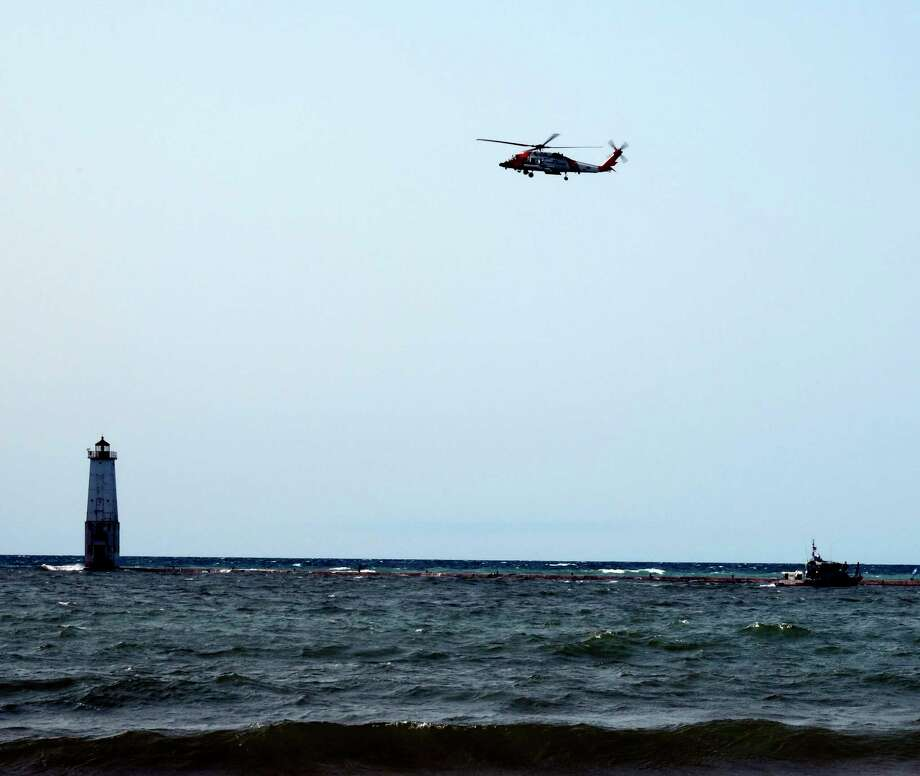 The Coast Guard searched for a 12-year-old boy on Sept. 21 after he was washed off the Frankfort Pier. (Courtesy Photo/Wayne Wissner) / WAYNE_WISSNER