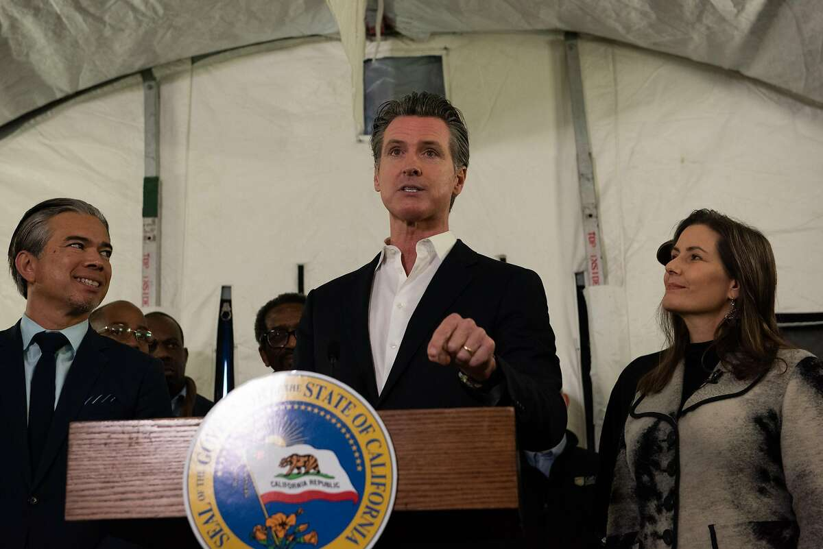 Gov. Gavin Newsom at a press conference announcing a plan to give FEMA trailers to different cities to help with the homelessness crisis. Oakland will be the first city to receive such trailers. on January 16, 2020 in Oakland, Calif.