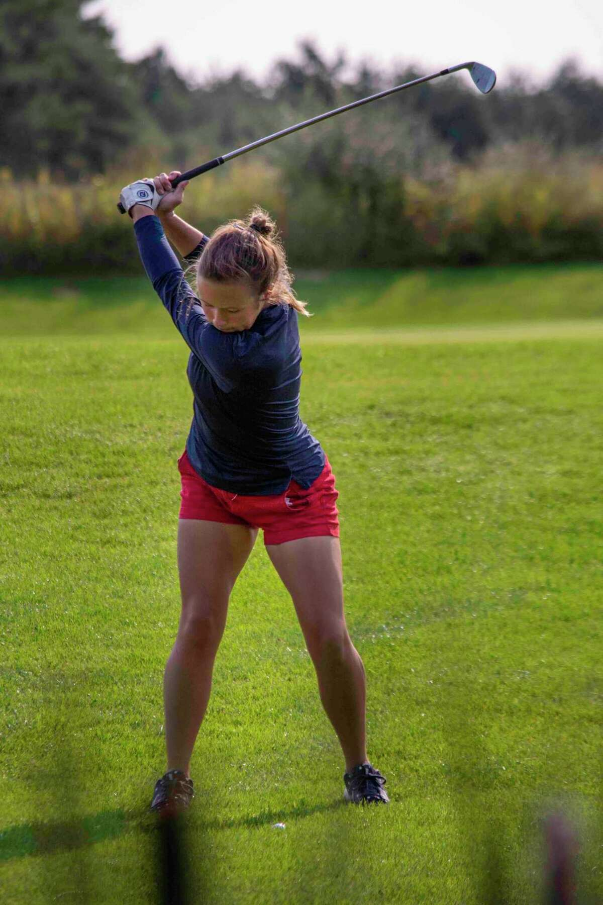 Lauren Posey gets ready to take a shot for Big Rapids at the Tullymore Invitational on Monday. (Pioneer photo/John Raffel)