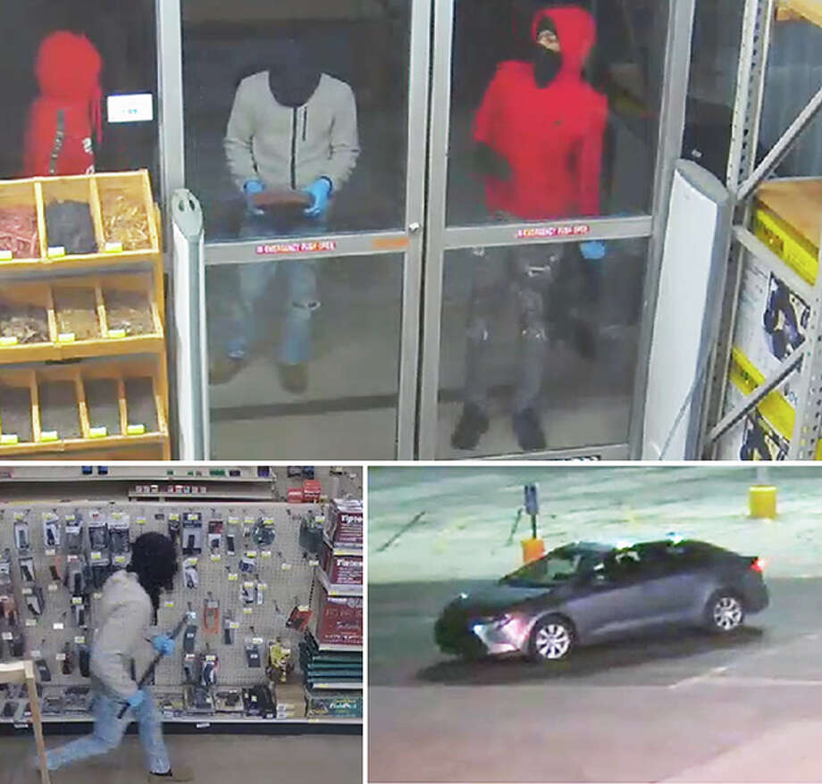 A series of video captures shows three men at a door at Buchheit (top), one of the men walking through the West Morton Avenue store (bottom left) and the car in which the three left the scene (bottom right). Photo: Journal-Courier