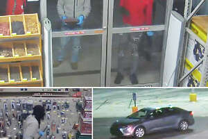 A series of video captures shows three men at a door at Buchheit (top), one of the men walking through the West Morton Avenue store (bottom left) and the car in which the three left the scene (bottom right).