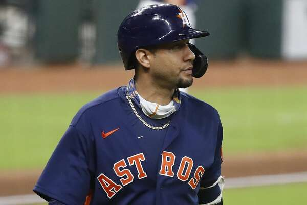 Houston Astros Yuli Gurriel (10) reacts after striking out with bases loaded during the eighth inning of an MLB baseball game at Minute Maid Park, Sunday, September 20, 2020, in Houston.
