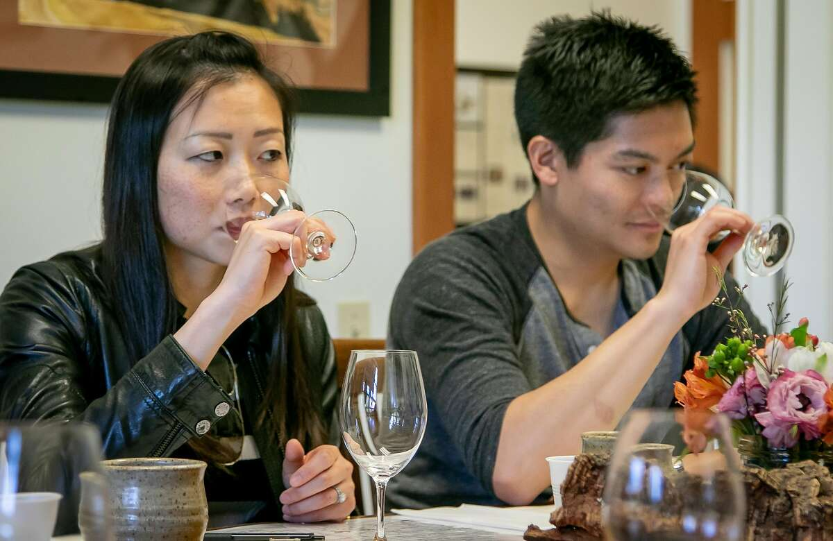 Brittany Lin and Alvin Yu taste Albarino at Hendry Winery in Napa, Calif. on March 30th, 2019.