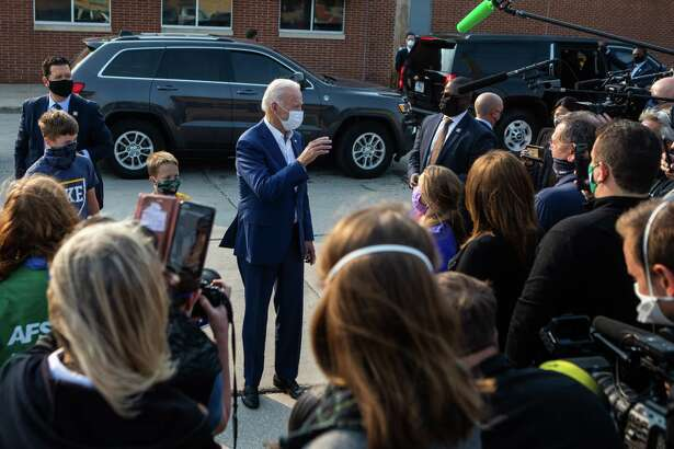 Joe Biden greets supporters in Manitowoc, Wis., on Monday.