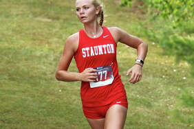 Staunton senior Dana Jarden runs midway through the girls race at the Staunton Invite last Tuesday at the Staunton Soccer Complex. Jarden, who finished seventh in Staunton's first home meet in more than 40 years, is wrapping up four-year career with Bulldogs cross country.