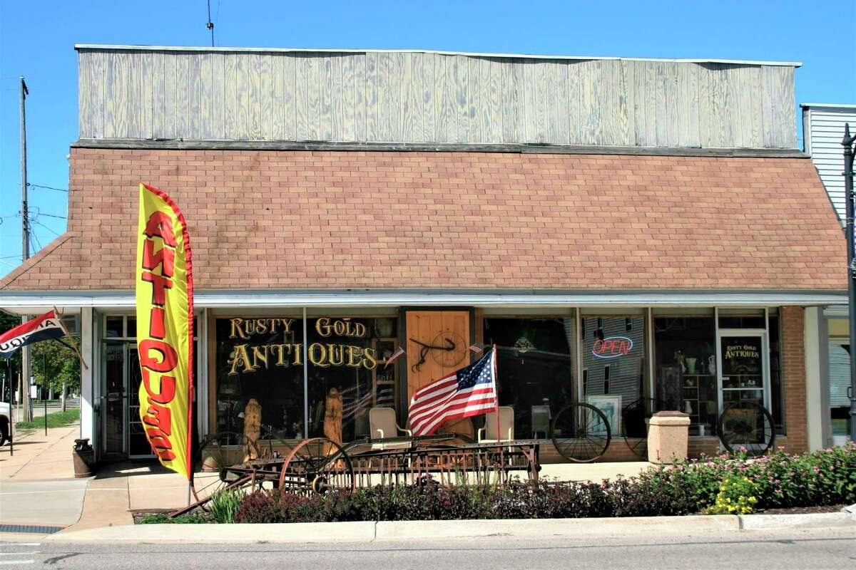 Rusty Gold Antiques opened July 2 in downtown Evart. Owner Joe Bixman said business is thriving despite the COVID-19 pandemic. The store offers an eclectic mix of furniture, dishes, knick-knacks and other assundry items. (Herald Review photo/Cathie Crew)