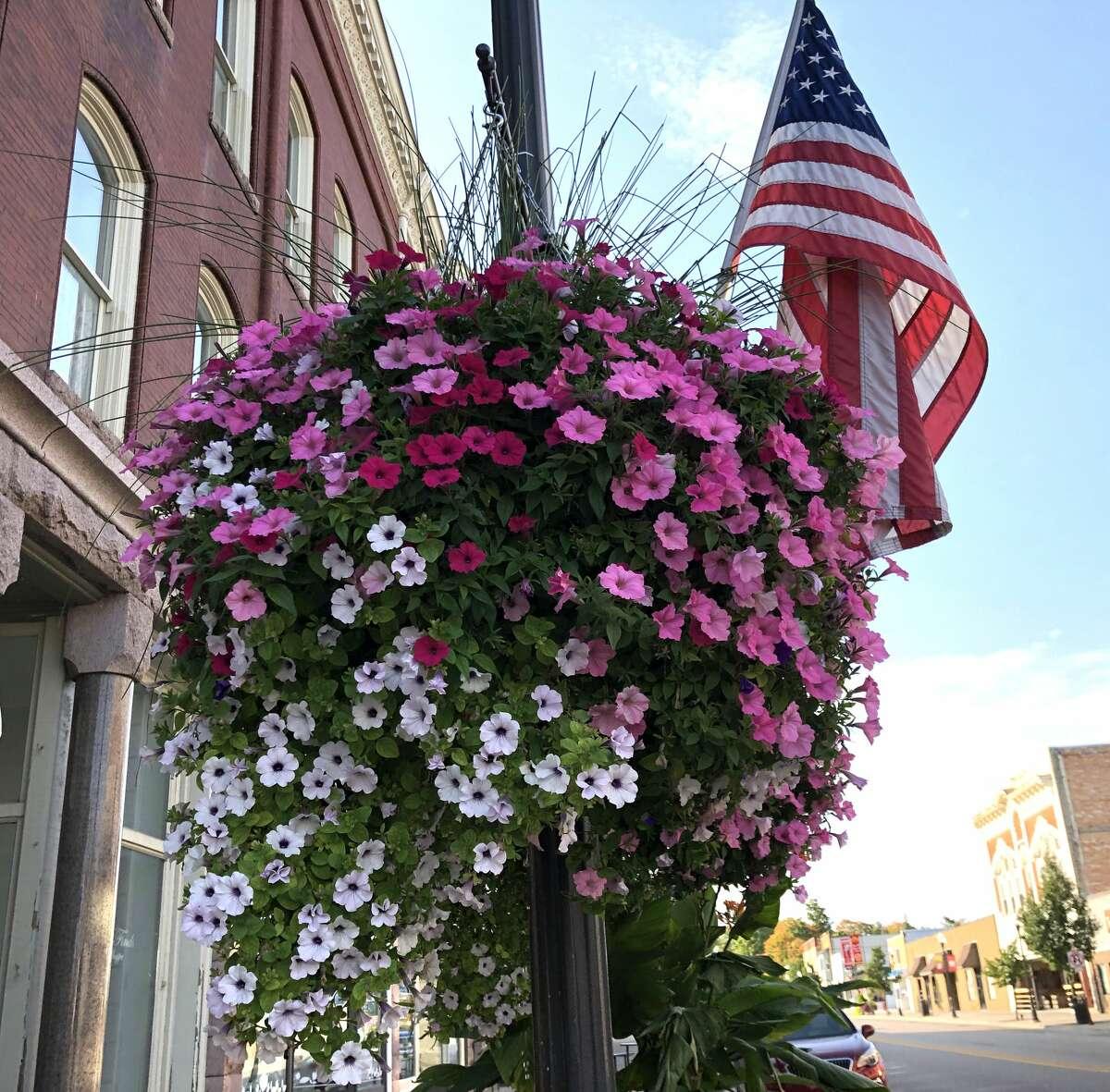 A flower basket in Big Rapids. (Pioneer file photo)