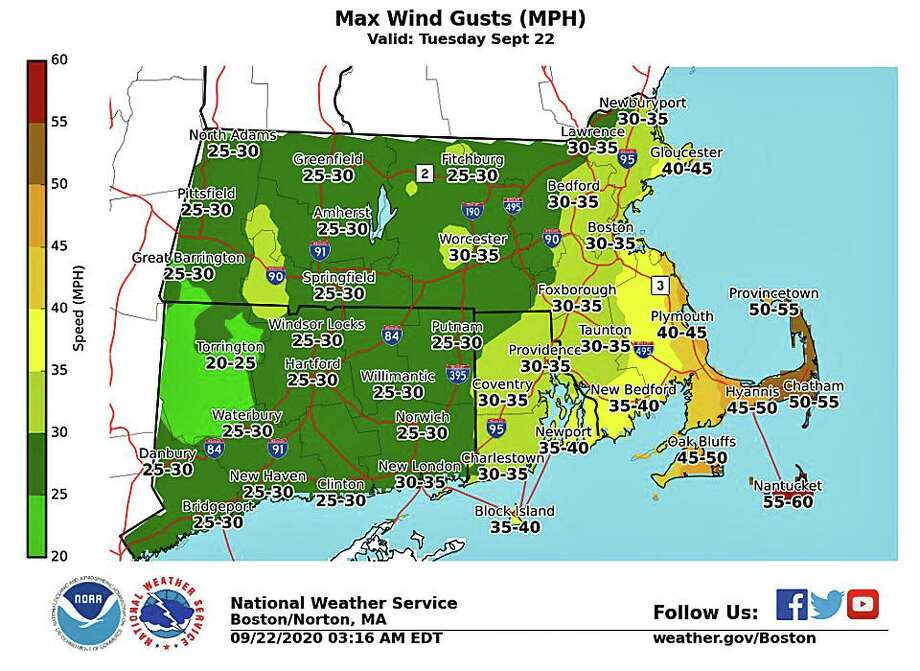 """Gusty northwest winds will develop today and continue into the afternoon, with gusts up to 20 to 25 miles per hour. The gusty winds, combined with low fuel moisture, and relative humidity values lowering to near 25 to 30 percent, will aid fires pread should ignition occur,"" the National Weather Service says. Photo: NWS Graphic"