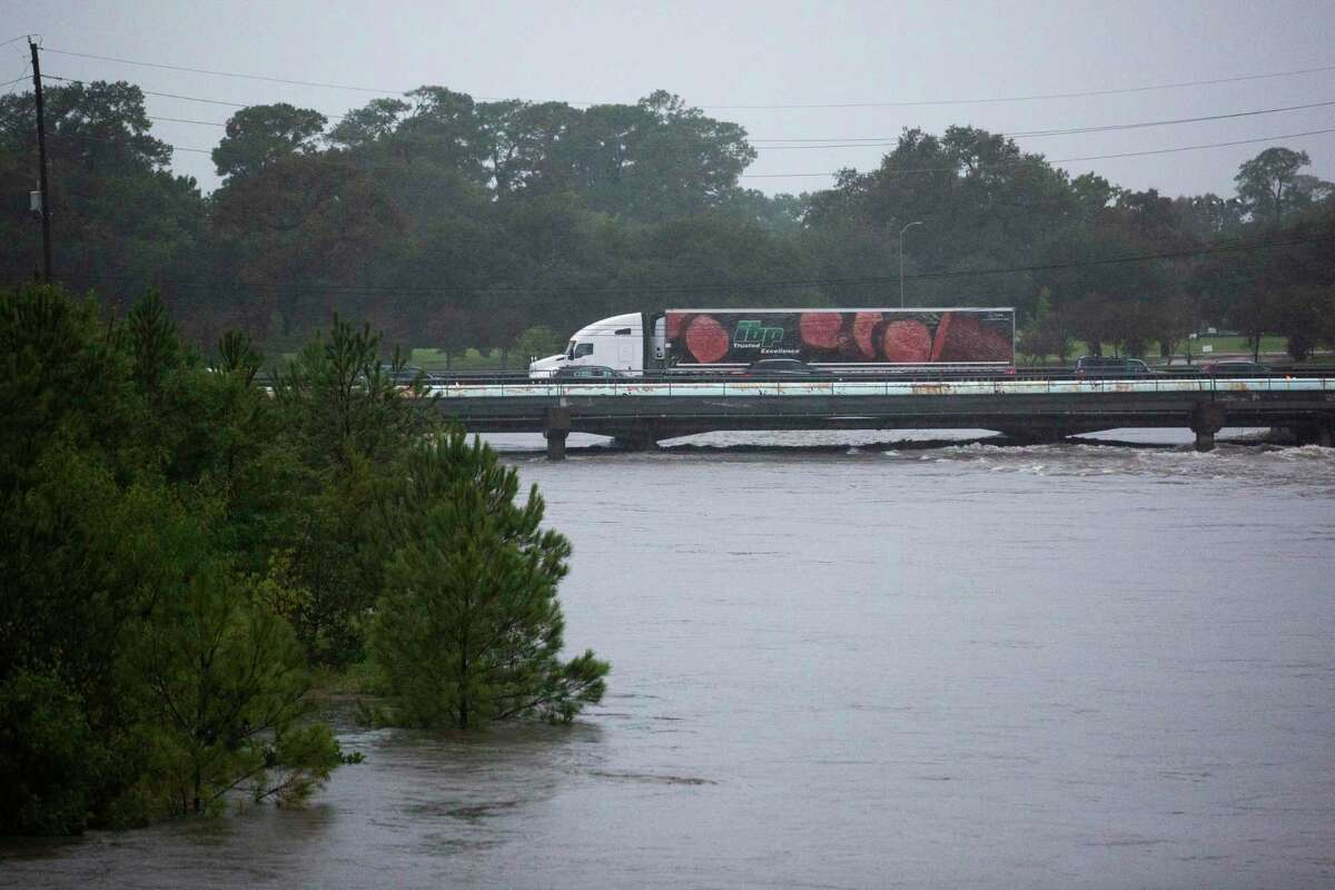 Brays Bayou gets dangerously high near the Texas Medical Center during Tropical Storm Beta Tuesday, Sept. 22, 2020, in Houston.
