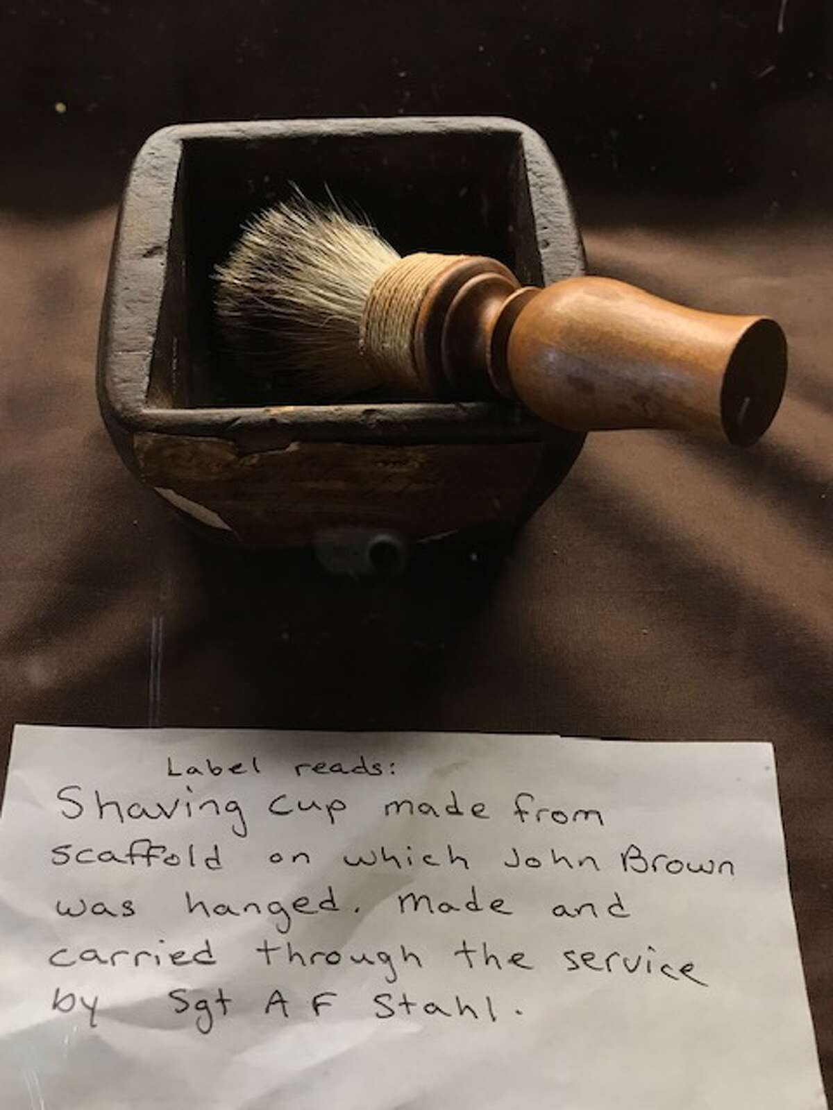 Shaving cup made from scaffold upon which John Brown was hanged in 1859 on display in the farmhouse on the John Brown Farm.