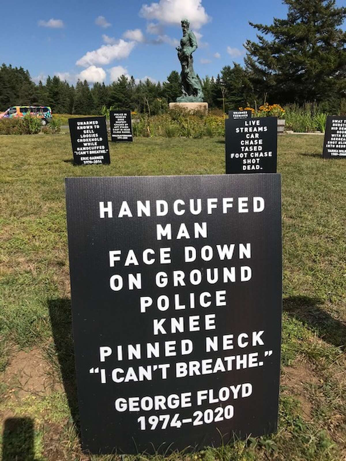 A marker to George Floyd in the Memorial Field for Black Lives, created by artist Karen Davidson Seward at the John Brown Farm.