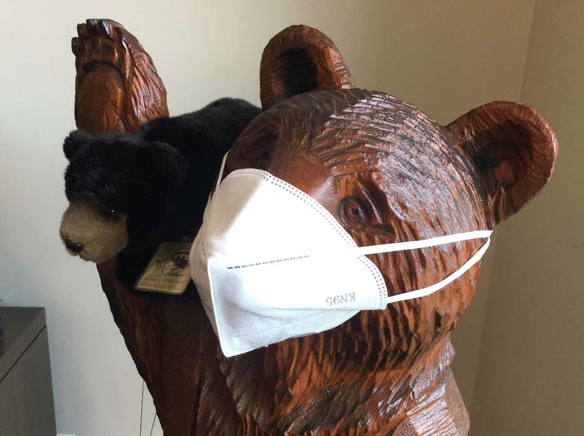 A carved wooden bear with an N95 mask at HAI Group in Cheshire.