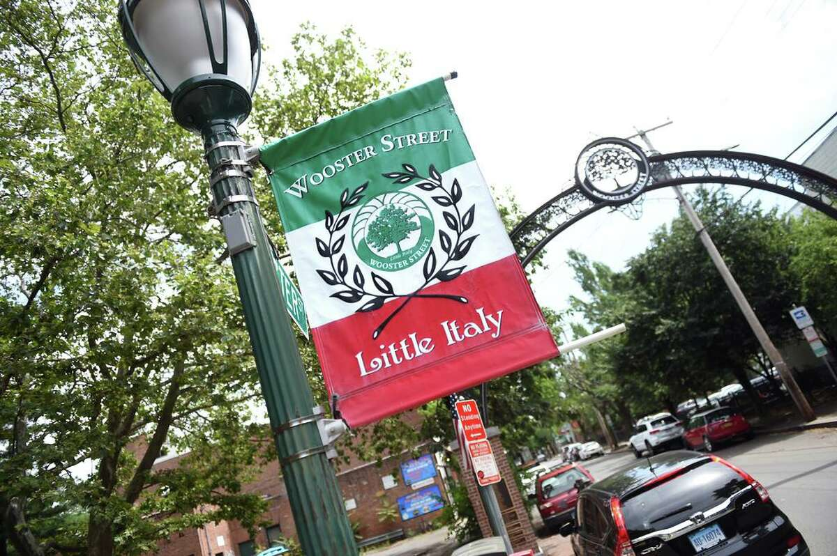 A banner for Little Italy hangs over Wooster Street in New Haven on July 13, 2020.