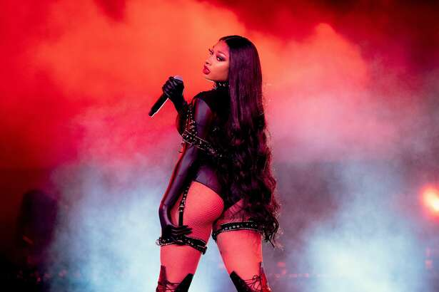 Megan now ties Lil' Kim as the 4th female rapper with the most cumulative weeks at #1 on the Hot 100 - 5 weeks each. (Photo by Rich Fury/Getty Images for Visible)