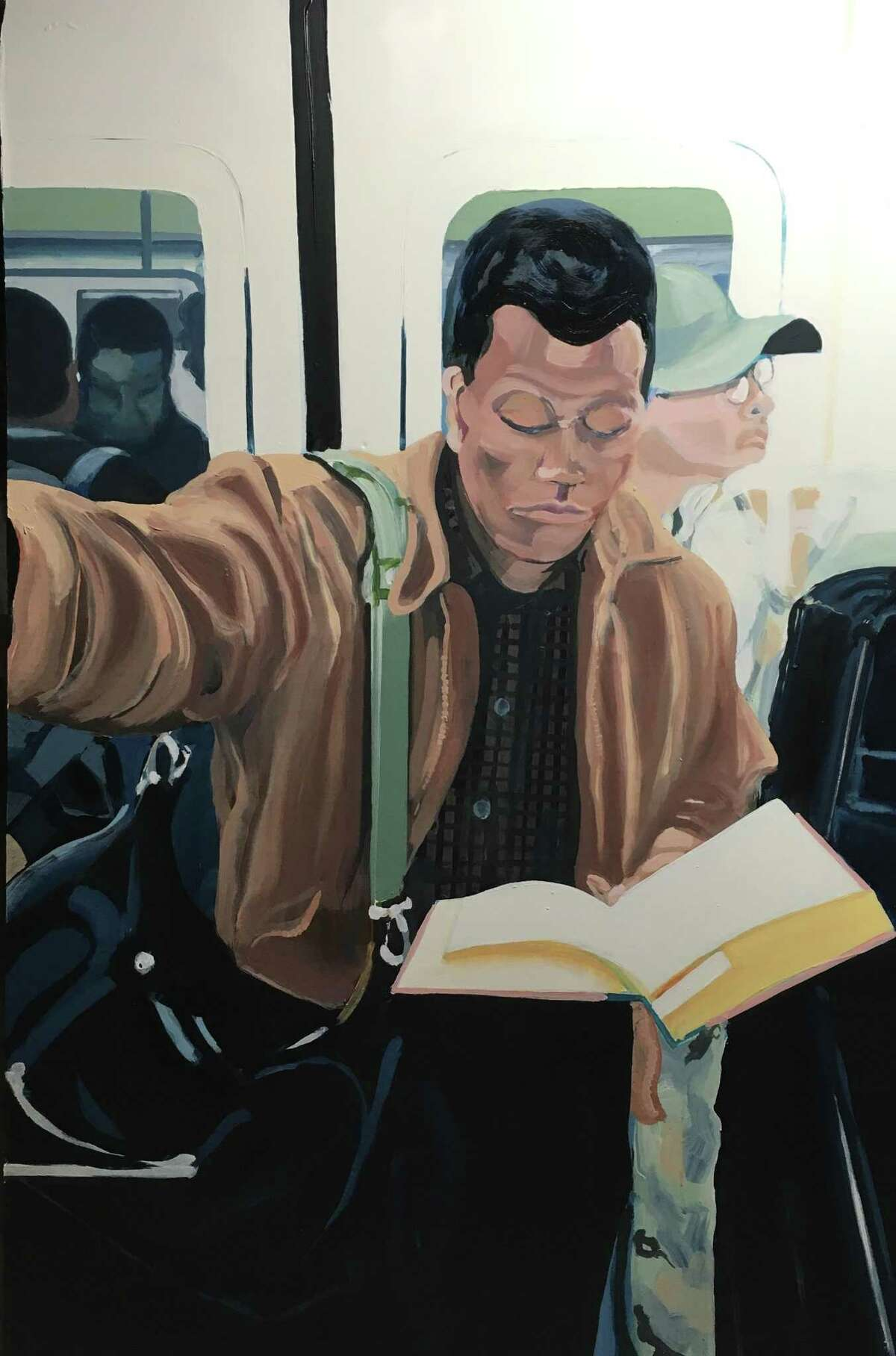 """The """"Black Men Reading"""" series by artist Larry Morse depicts Black men reading on subways and elsewhere. The series is on display at the Easton Public Library as part of the """"Diverse Perspectives"""" exhibit."""