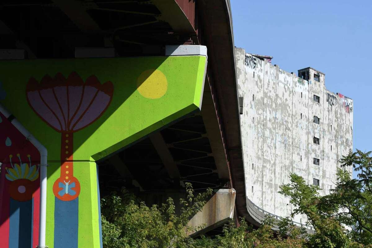 Underside of the future Albany Skyway park, now I-787 complex connector, on Tuesday, Sept. 22, 2020, in Albany, N.Y. Albany Council has approved paperwork clearing the way for Skyway construction to begin. (Will Waldron/Times Union)