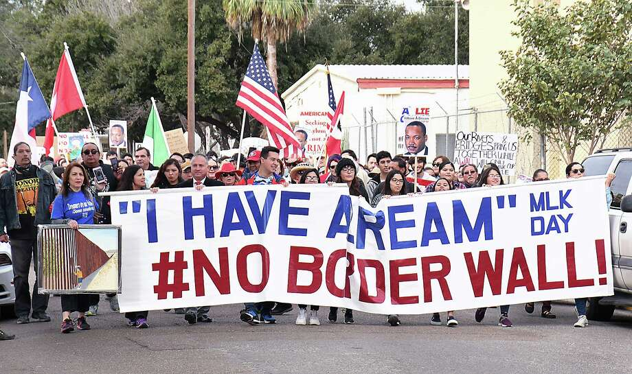 "Marchers took to the streets of downtown Laredo for the Martin Luther King Day ""I Have a Dream"" #No Border Wall march and rally, Monday, January 20, 2020. Photo: Cuate Santos / Laredo Morning Times / Laredo Morning Times"