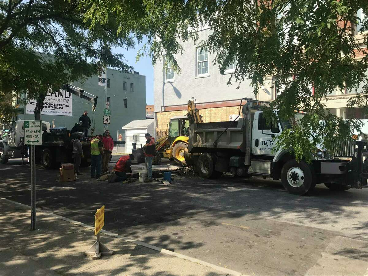 Troy, N.Y. utilities crews work on a waterline issue in Third Street between State and Congress streets Tuesday Sept. 22, 2020 forcing detouring traffic to make an unexpected detour.