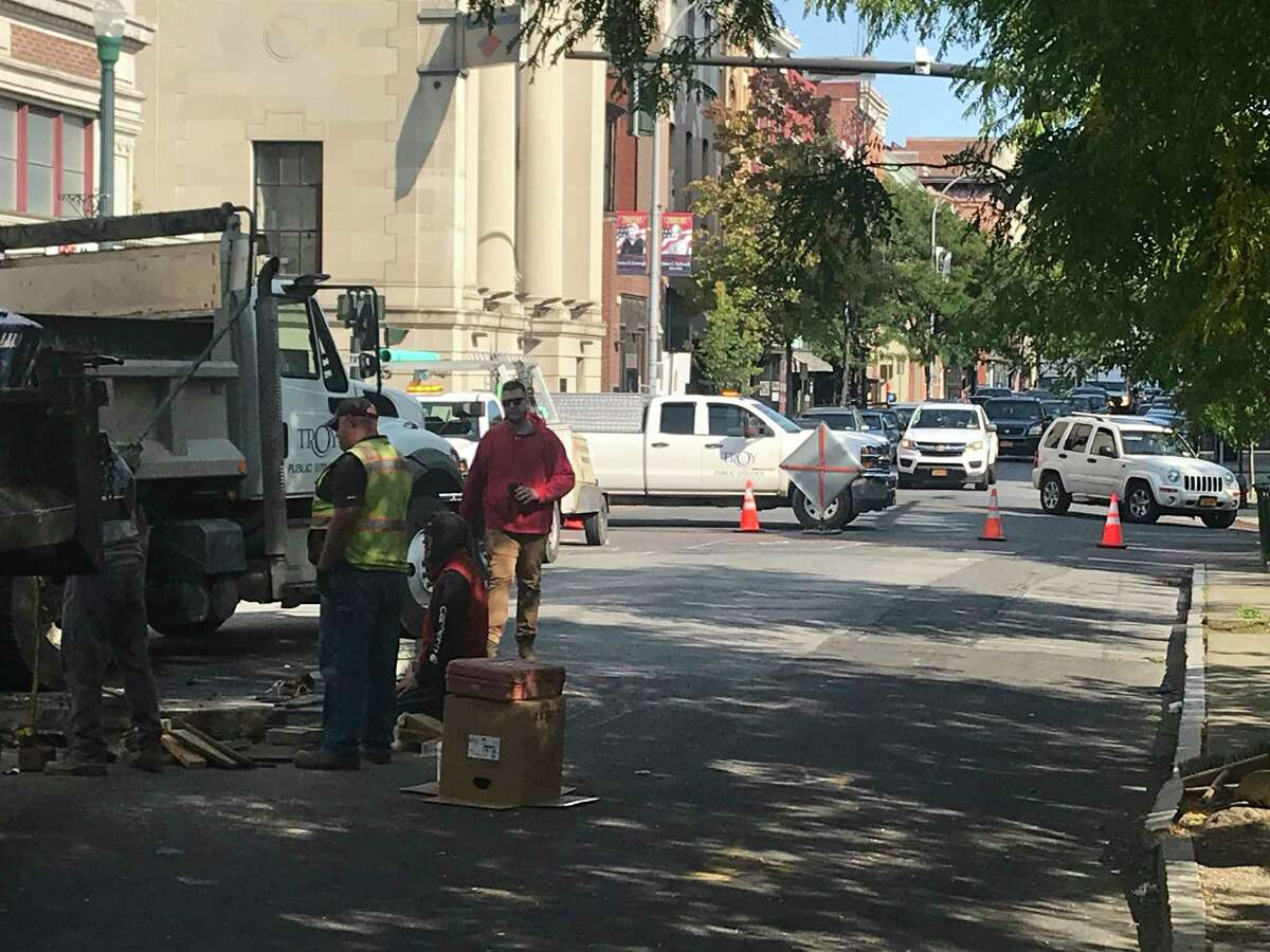 Detouring traffic on Third Street runs into a water repair problem and is forced on to an unplanned detour Tuesday Sept. 22, 2020 in Troy, N.Y.