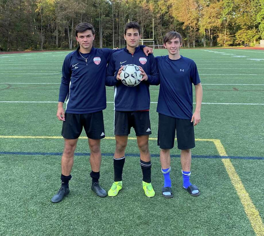Ben Carlson, Luca Marinelli and Thomas Kummer will captain Foran High this season. Photo: Foran High Athletics / Contributed Photo / Milford Mirror