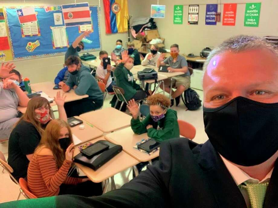 Laker Superintendent Brian Keim snapped a selfie with students to celebrate the first day of school.Keim said staff is happy to have students back in school and are working hard to maximize student potential whether they are learning in class or at home. (Brian Keim/Courtesy Photo)
