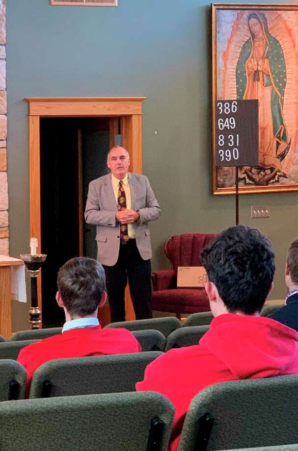 Brian Black, co-founder and president of Harmel Academy of the Trades, visited Manistee Catholic Central Friday to discuss the benefits of trade school. (Courtesy photo)