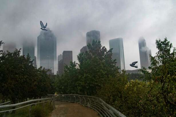 Pigeons fly under the rain with the Houston skyline on the background during the Tropical Storm Beta Tuesday, Sept. 22, 2020, in Houston.