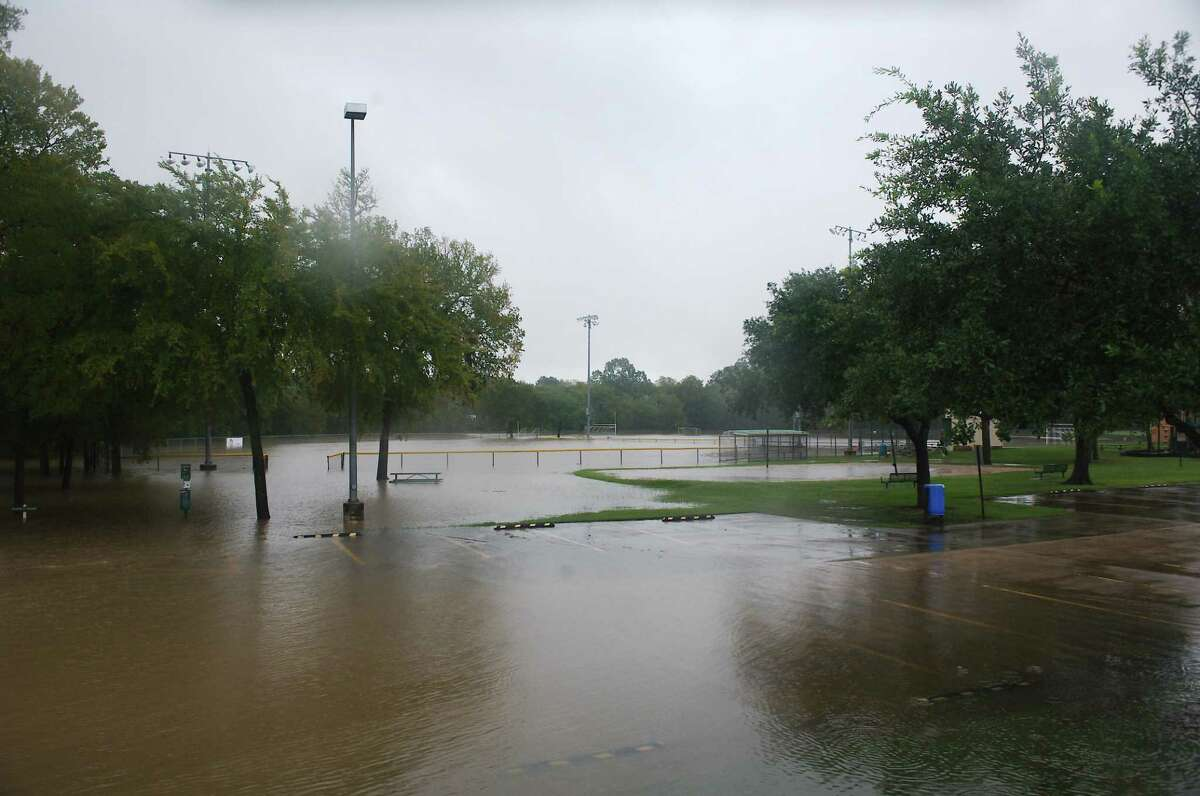 Tropical Storm Beta caused Clear Creek to surge out of its banks at Countryside Park off Bay Area Boulevard in League City.