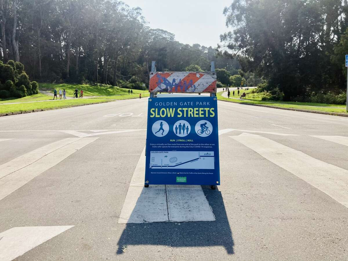 Slow streets sign in Golden Gate Park.