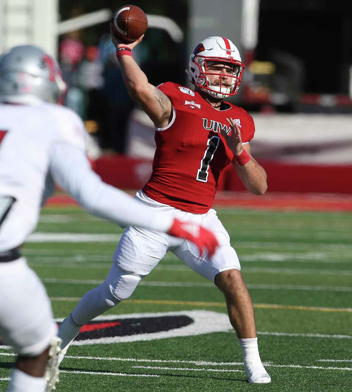 Jon Copeland picks a receiver for the Cardinals as UIW hosts Nicholls State at Benson Stadium on Nov.2, 2019.