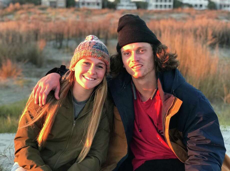 """Annabelle and Will Andrews in Sullivan's Island, a town off the coast of Charleston, on Christmas Eve 2018. Annabelle, Will's youngest sister, hadn't seen him in a while, and met him at the beach to watch the sunset. """"It was my best memory we had together,"""" she said. Photo: Courtesy Andrews Family / ONLINE_YES"""