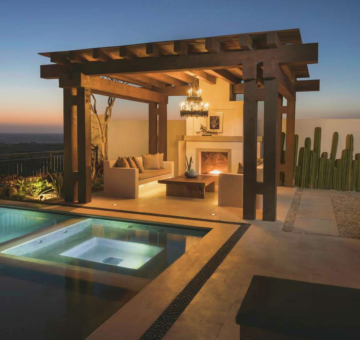 The Norman Estates at Rancho San Lucas in Los Cabos, Mexico features bespoke residences with enticing exterior spaces, like pools, hot tubs and outdoor fireplaces.