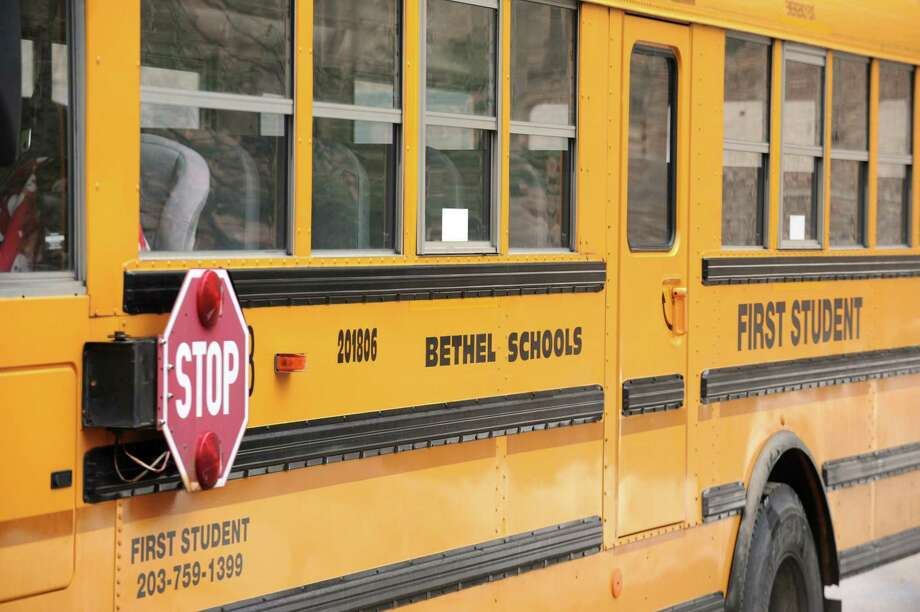 Details of a Bethel, Conn. school bus. First Student. March 8, 2013. Photo: Cathy Zuraw / Cathy Zuraw / The News-Times