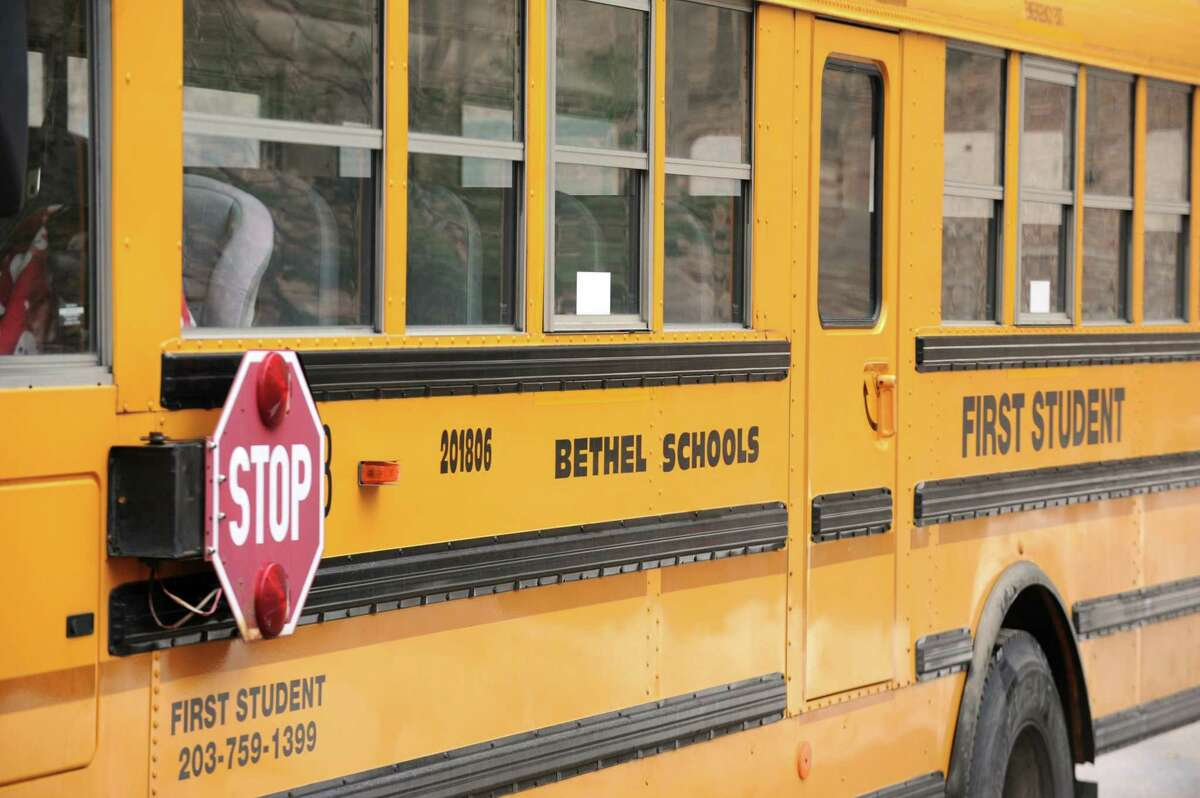 Details of a Bethel, Conn. school bus. First Student. March 8, 2013.