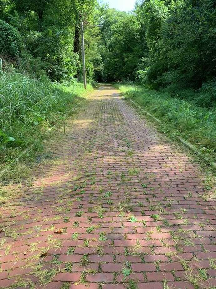 Nancy Culiberk says Rock Spring Park in Alton is too beautiful to let languish, so she and her husband have begun cleaning it. Pictured is a brick path the couple recently cleared of weeds. They plan to be back at the park 9 a.m. to noon Saturday.