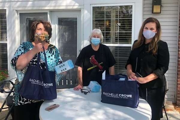 Pictured from left are Administrator of Asbury Village Anita Martinez, Sen. Rachelle Crowe's grandmother and Asbury resident Eilene Taylor, and state Sen. Rachelle Crowe, who provided 5,000 disposable masks to eight Madison County facilities.