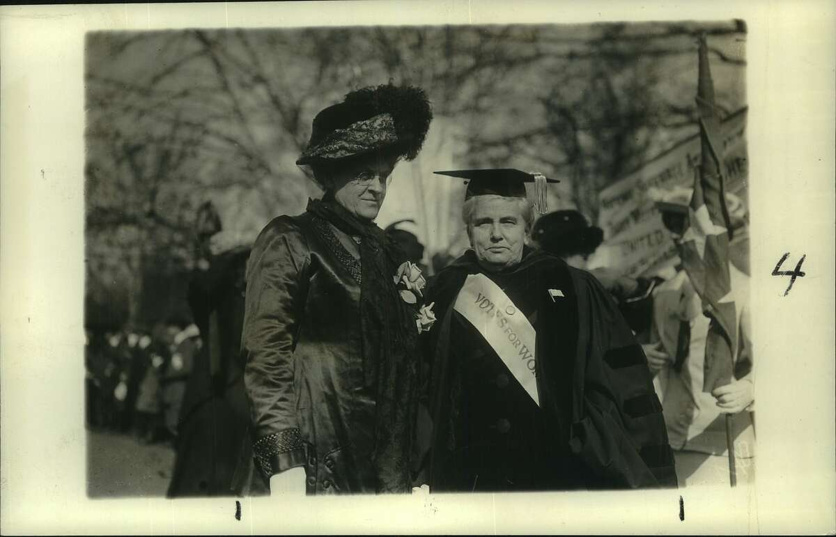 Two of the most prominent workers in the suffragette cause are shown here just before the monster demonstration staged in New York City October 3rd 1915. At the left is Mrs. Carrie Chapman Catt, at right is Dr. Anna Shaw. By the book The Greenwich Library will host its AuthorsLive virtual event from 7 to 8 p.m. Monday, Nov. 16, with the editors of