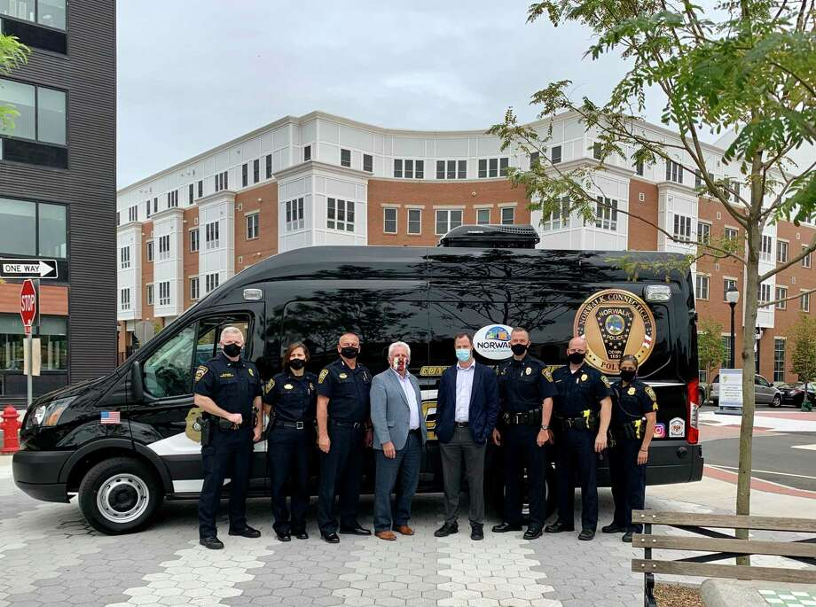 Norwalk police debuted their new Community Engagement Van on Friday. Photo: Contributed Photo / Norwalk Police Department