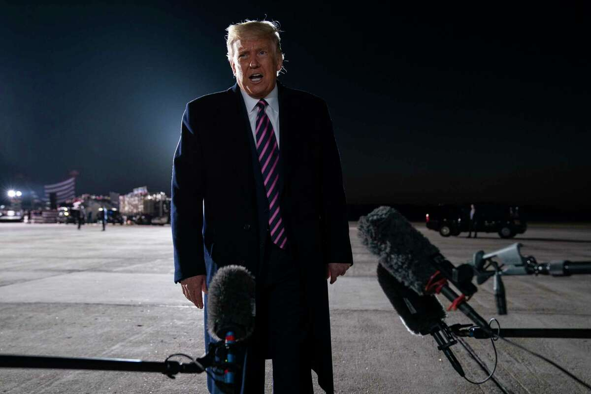 President Donald Trump, talks with reporters about the death of Supreme Court Justice Ruth Bader Ginsburg, following a campaign rally, last week. Trump is in a position to reshape the Supreme Court long past his time in office with a third justice, giving conservatives a 6-3 majority.