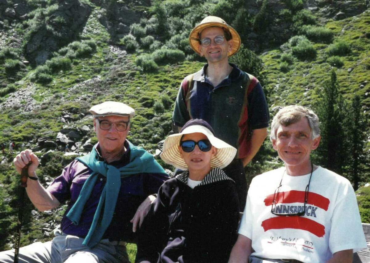 Marty Ginsburg, from left, Justice Ruth Bader Ginsburg and St. Mary's University School of Law professors Gerald S. Reamey, right, and Vincent R. Johnson hike along the Panoramaweg, a trail in the Alps above Innsbruck, Austria, in July 1995.