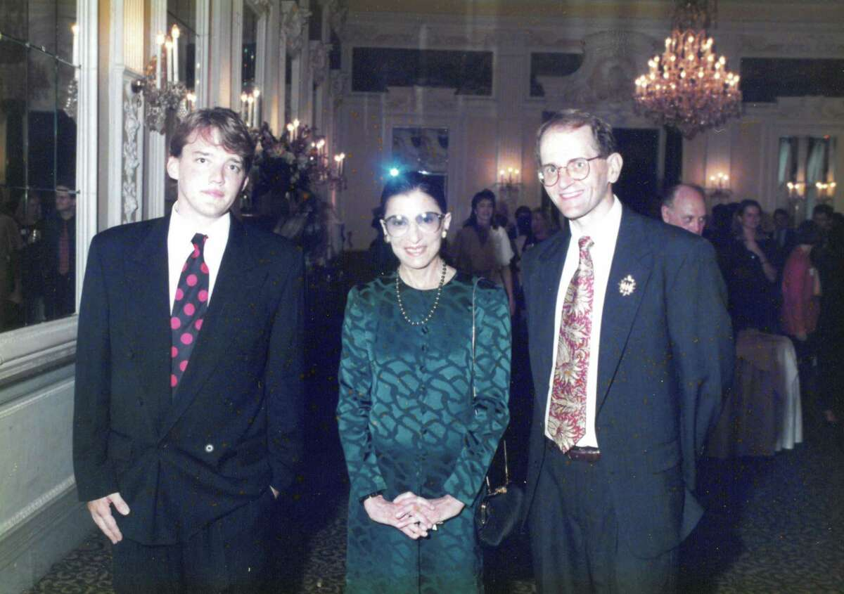 In July 1995, the late Supreme Court Justice Ruth Bader Ginsberg, center, was honored at the gala reception by the St. Mary's University Institute on World Legal Problems in Innsbruck, Austria. Also pictured, from left, are St. Mary's Law student David Wiley and Professor Vincent R. Johnson.