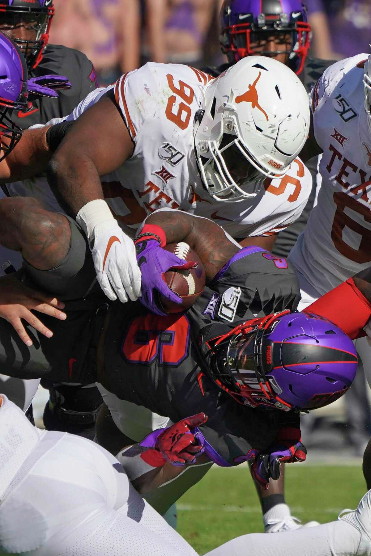 Starting defensive tackle Keondre Coburn is part of a deep defensive line this season for the Longhorns.