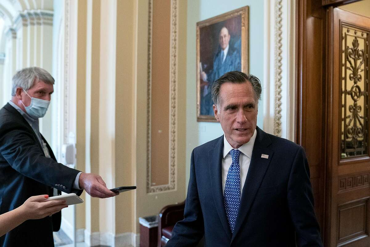 WASHINGTON, DC - SEPTEMBER 21: U.S. Sen. Mitt Romney (R-UT) speaks to reporters at the U.S. Capitol on September 21, 2020 in Washington, DC. Senate Majority Leader Mitch McConnell (R-KY) is planning to hold a vote to fill Justice Ruth Bader Ginsburgs Supr