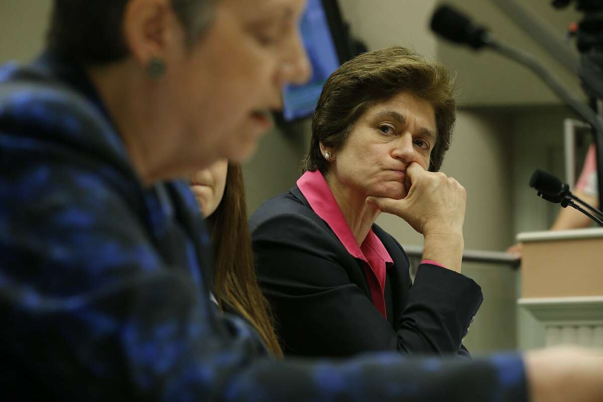 From right: California State Auditor Elaine M. Howle listens in to University of California president Janet Napolitano on Tuesday, May 2, 2017, in Sacramento, Calif. Napolitano testified at a hearing at the California State Capitol. A state audit found the Napolitano's office collected at least $175 million in secret reserve funds.